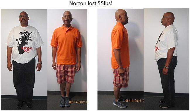 before and after of northon who lost 55 pounds