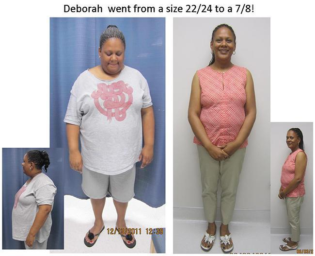 deborah went from a size 22/24 to 7/8 weight loss