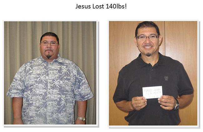 jesus lose 140 pounds