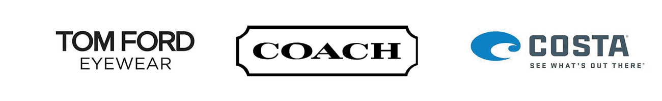 Rayban, Emporio Armani, Tomato Glasses, Mira Flex, and Lightec brand logos