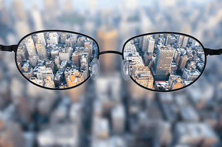 Glasses looking at city