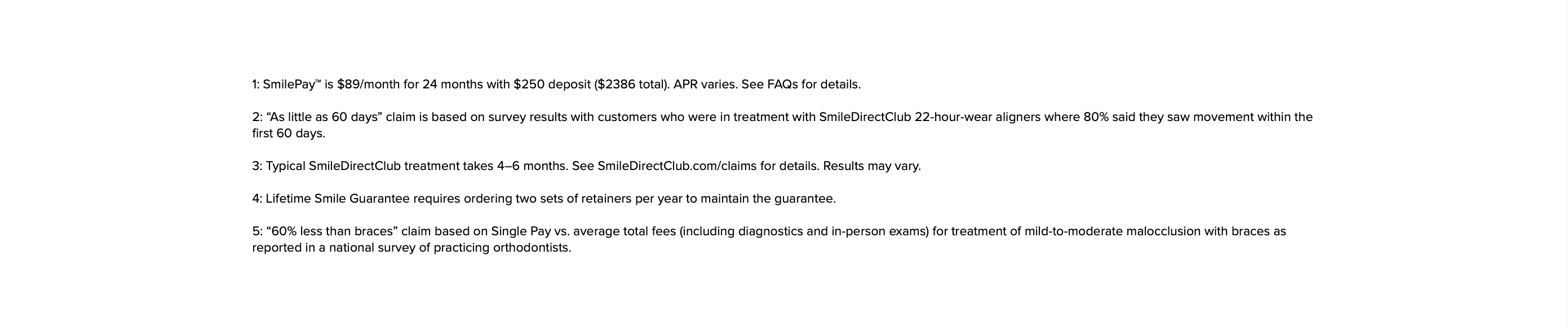 Terms and Conditions, SmileDirectClub