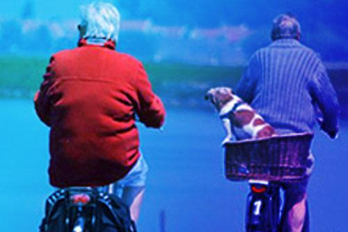 two men biking showing painless movement