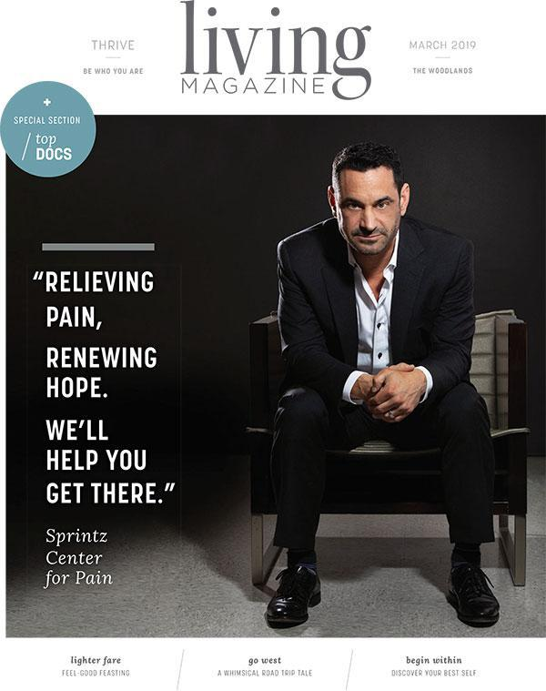 Living Magazne cover page with Dr Michael Sprintz