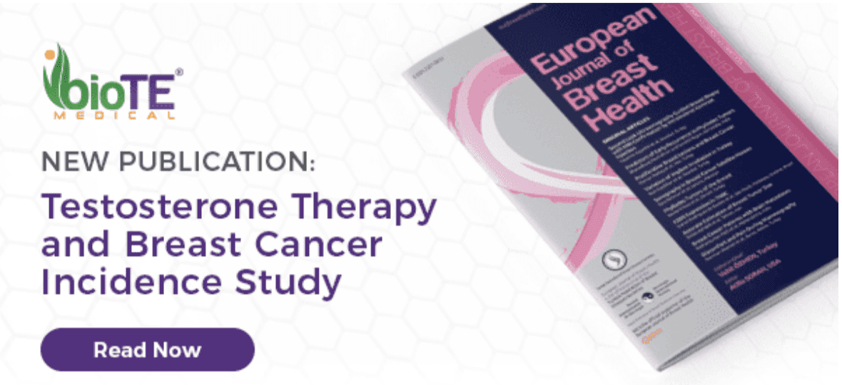 Biote Medical Logo with a message. New Publication: Testosterone Therapy and Breast Cancer Incidence Study. A button that says Read Now. Next to this description there is an image of a pamphlet that says European Journal of Breast Health