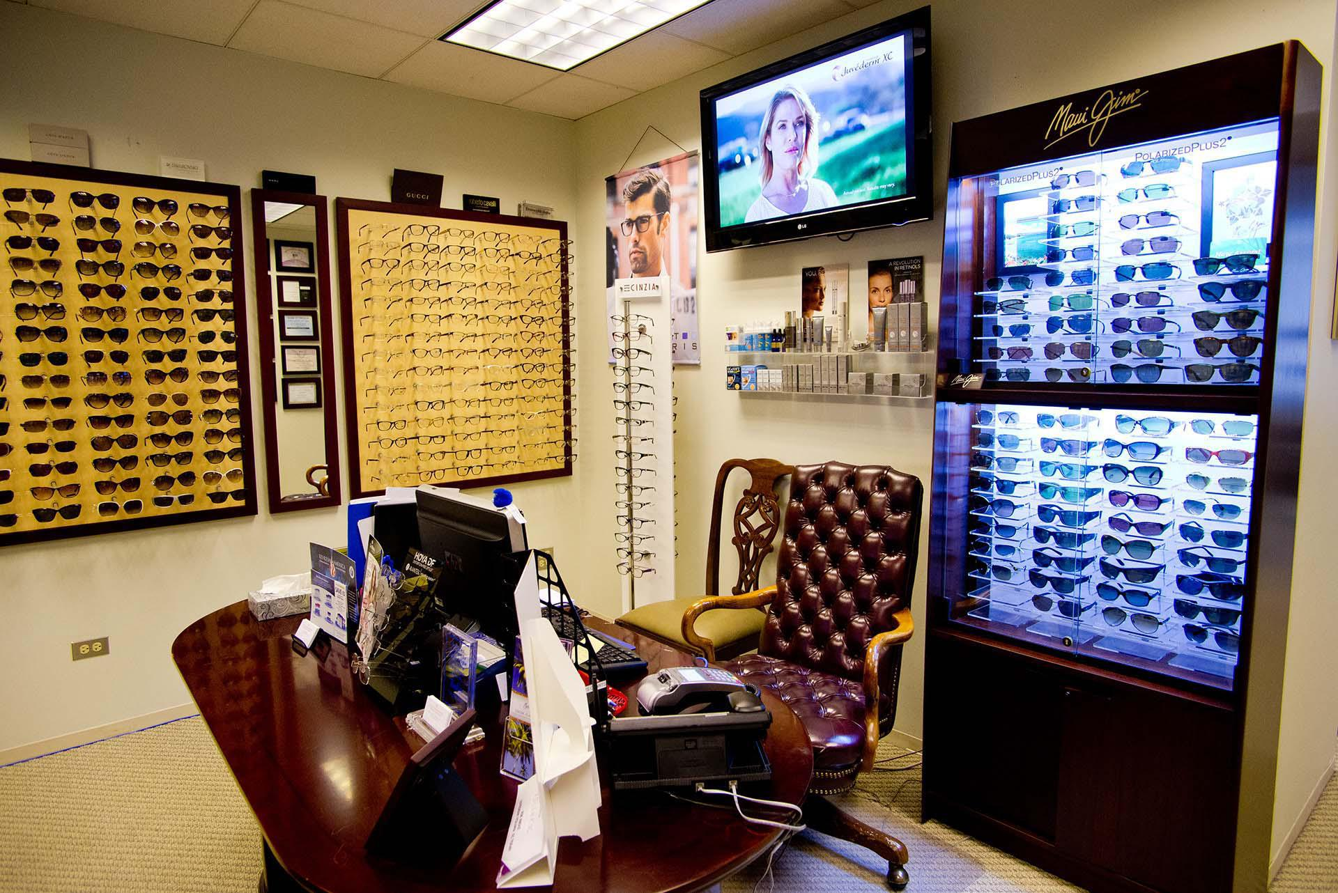 Lobby and glasses inventory at Doctors for Visual Freedom