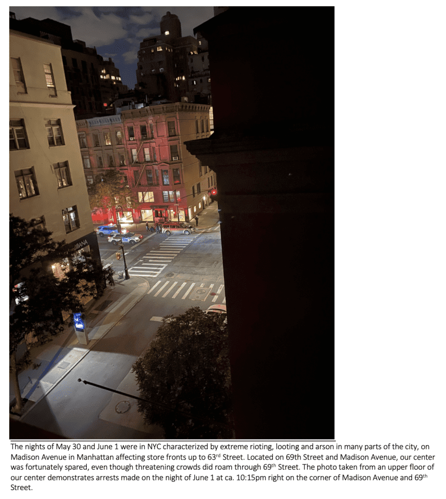 View from our NYC center on June 1, 2020