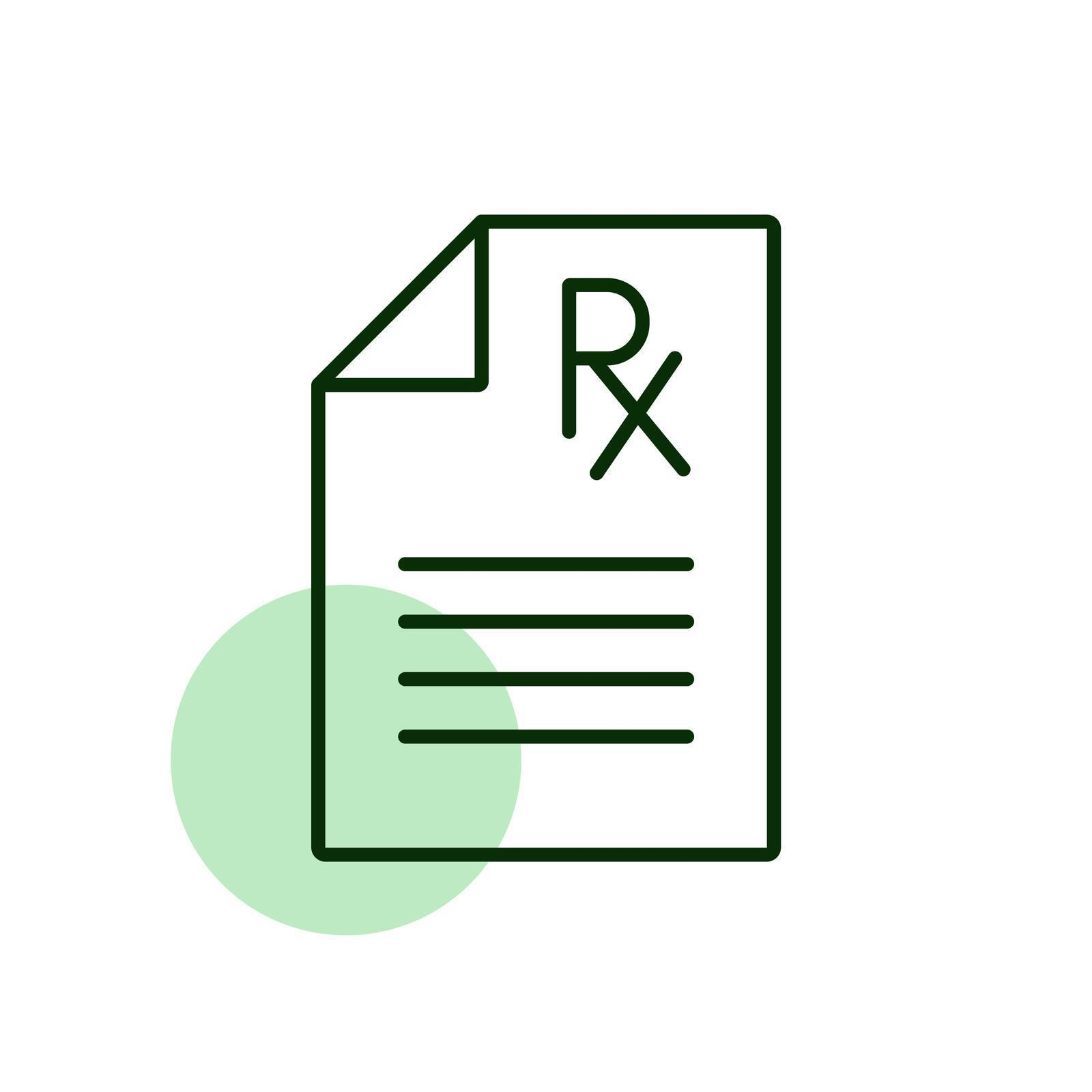 Artwork of an RX prescription pad with a green circle symbolizing a legal treatment with medical marijuana for a qualifying condition.