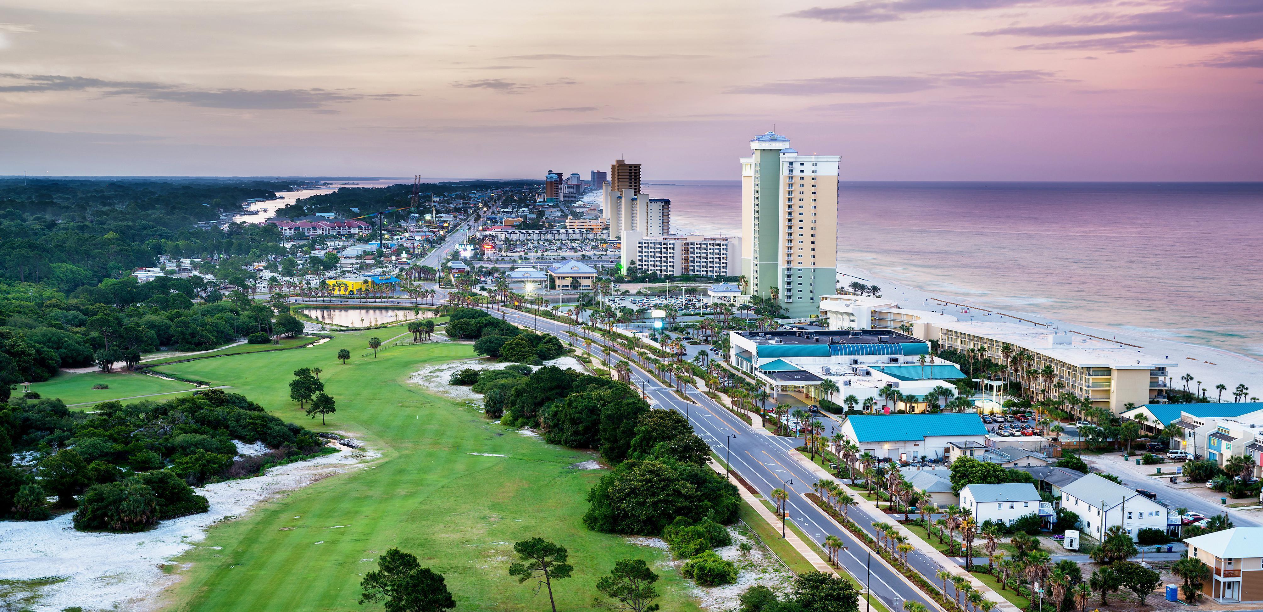 Panoramic view of Panama City, Florida and the beach.