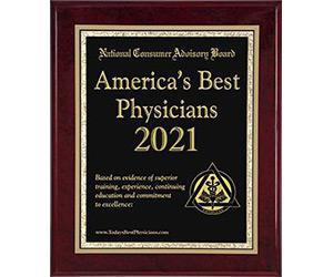 National Consumer Advisory Board plaque for America's Best Physicians 2021