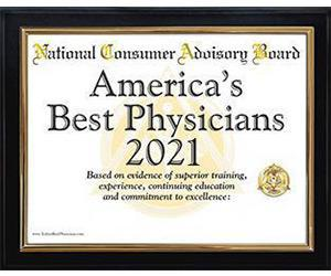 National Consumer Advisory Board's award for America's Best Physicians 2021
