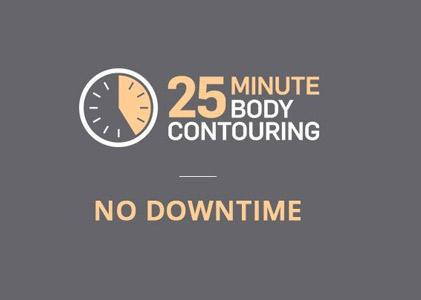 How long does SculpSure take? With woman pointing to clock: 25 minutes