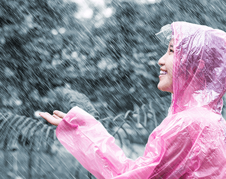 girl in pouring rain