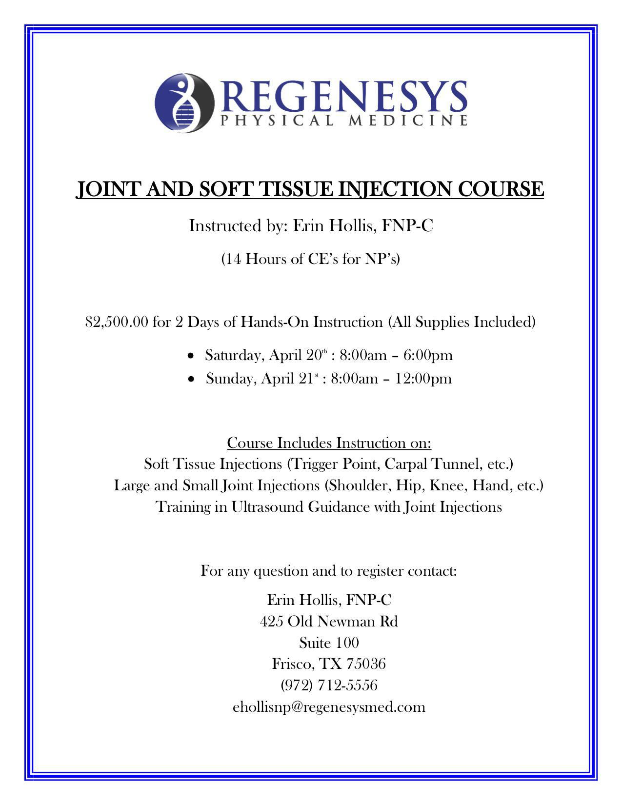 Joint Injection Course Flyer