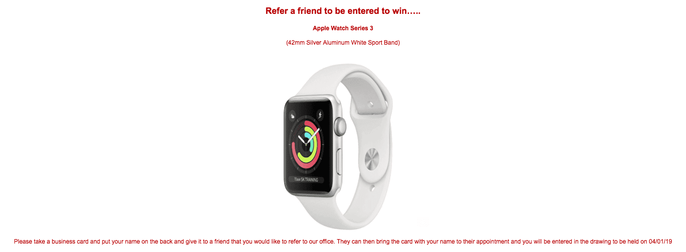 image of smart watch available as a reward for referalls