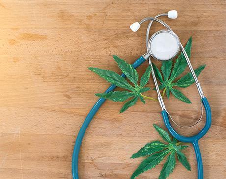 sthetoscope and marijuana on table