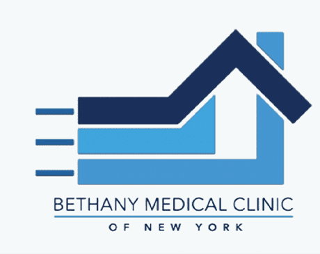 Bethany Medical Clinic of New York signage featured on a brownish copper wall.