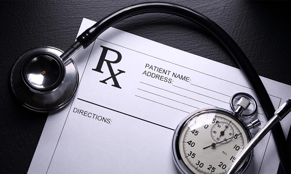Prescription and sthethoscope