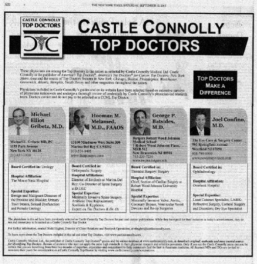 """Dr  Melamed Recognized as """"Top Doctor"""" in the New York Times"""