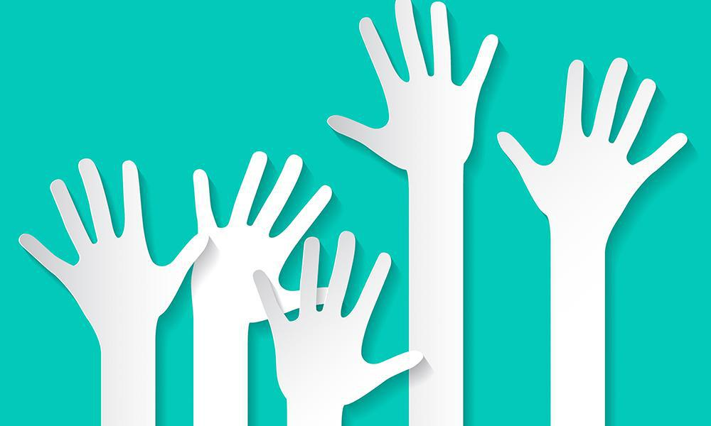 graphic of raised hands