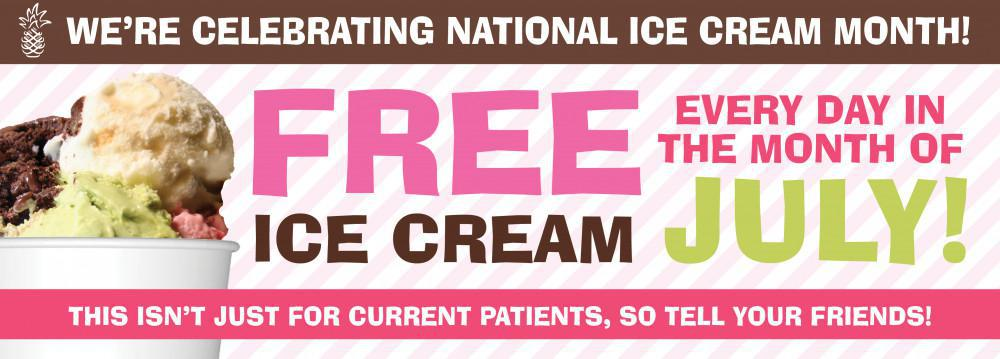 Free Ice Cream During the Month of July at Hospitality Dental (July 2018)