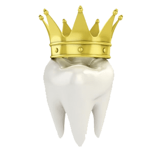 Tooth with an actual crown on it