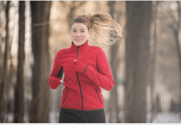 Girl in red jacket running