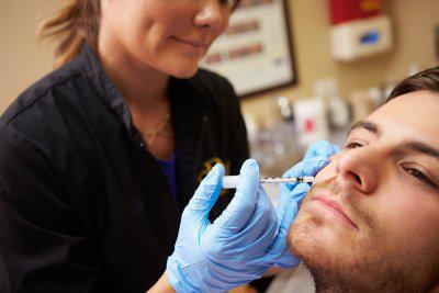 man getting cosmetic injection