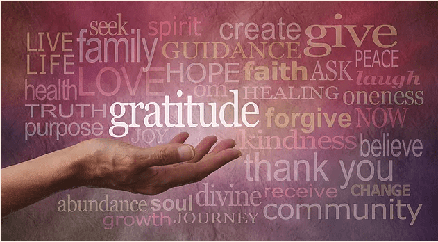 words of thankfulness on pink background