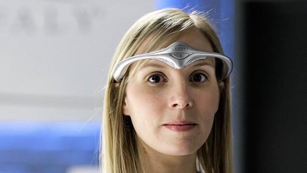 woman wearing test headgear