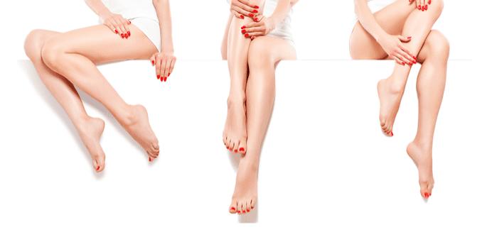 three women crossing their legs