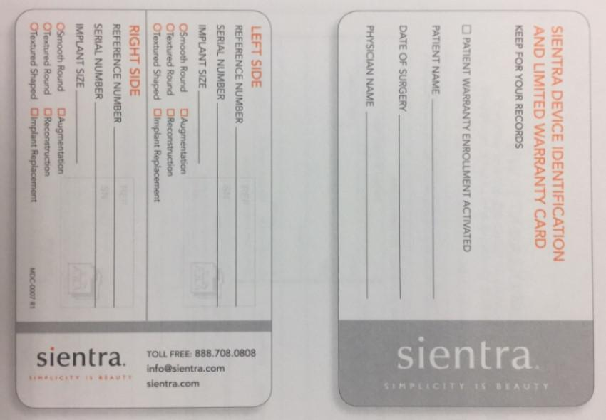 Sientra Device Identification and Warranty Card