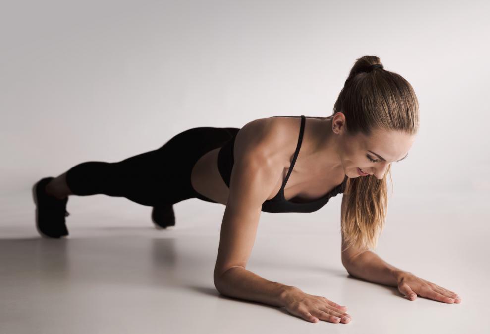 a woman doing the plank