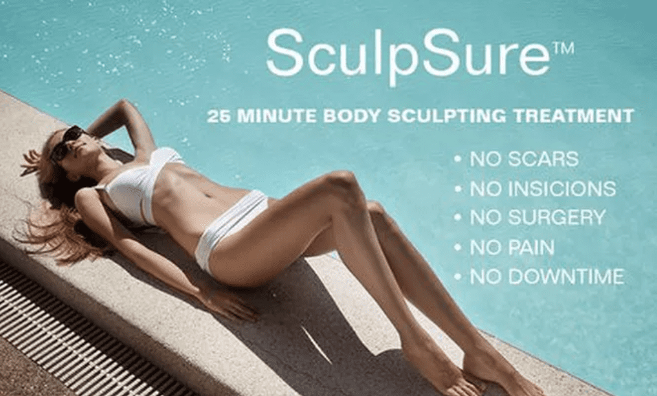 Sculpsure woman near pool