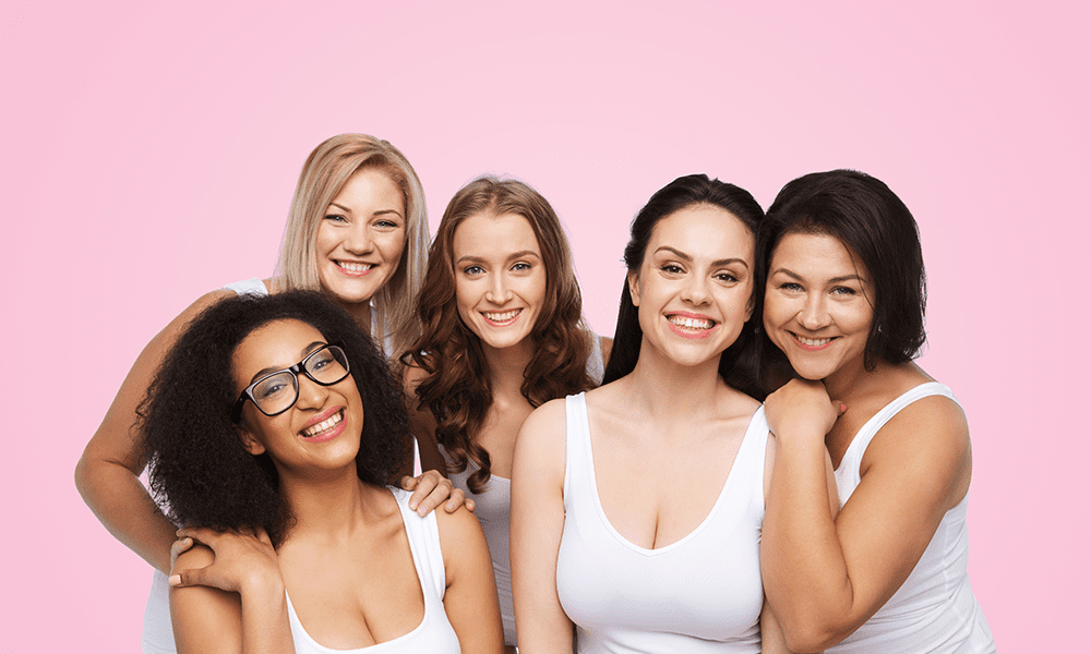 five women pink background