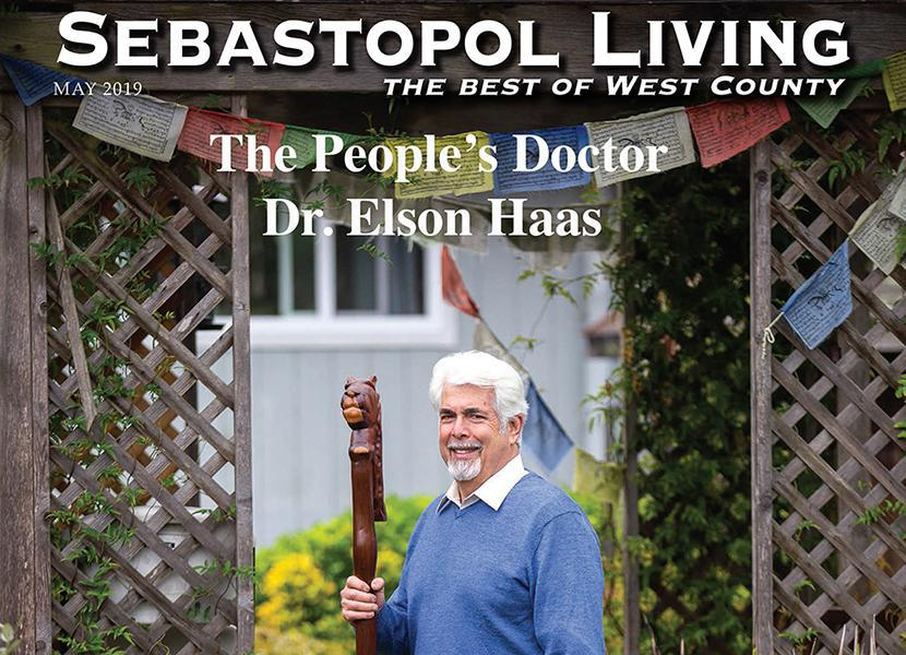 Photo of Dr. Elson Haas outside his home in Sebastopol, CA