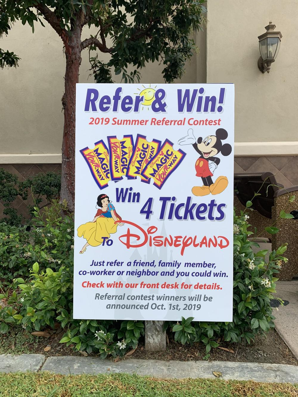 This Summers referral contest! Refer family, friend, or neighbor and be entered to win 4 tickets to DISNEYLAND! Don't Miss Ou