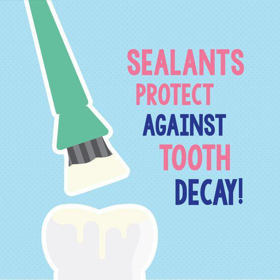 "Graphic saying ""Sealants protect against tooth decay!"""