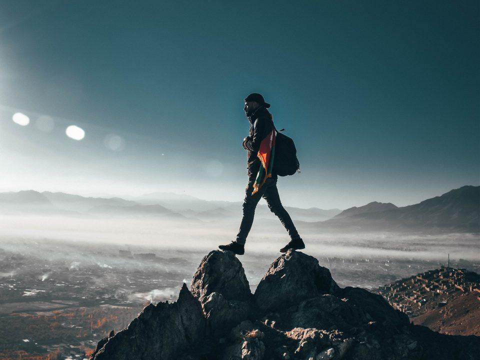 Man on adventure hike