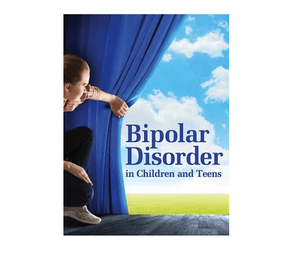 A child pulling back a curtain to reveal the words 'Bipolar Disorder in Children and Teens'.