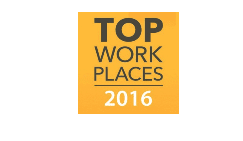 Picture of the 'Top Work Places 2016'.
