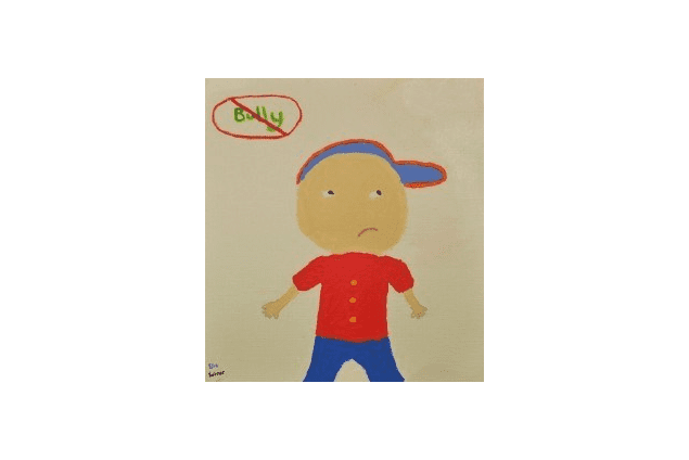 A child's drawing of a young boy and an anti-bullying sign.