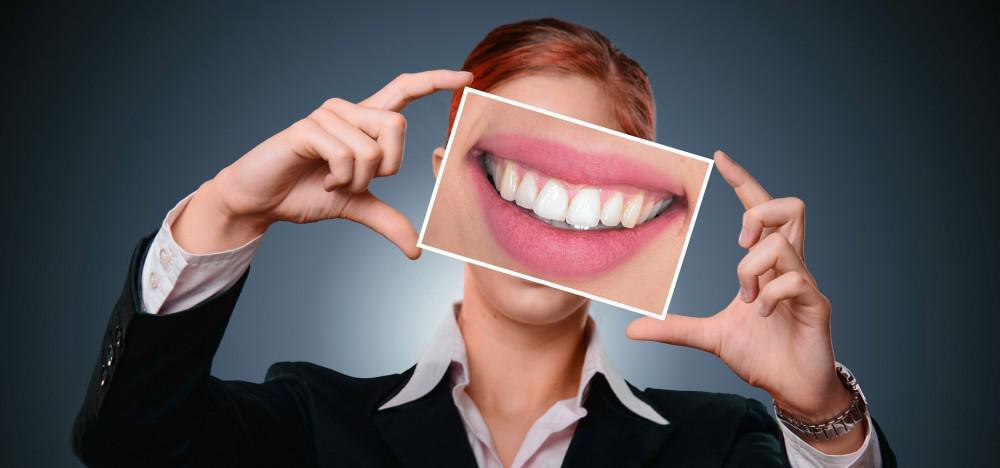Big smile woman showing teeth