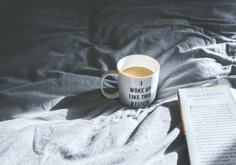 Mug on bed.