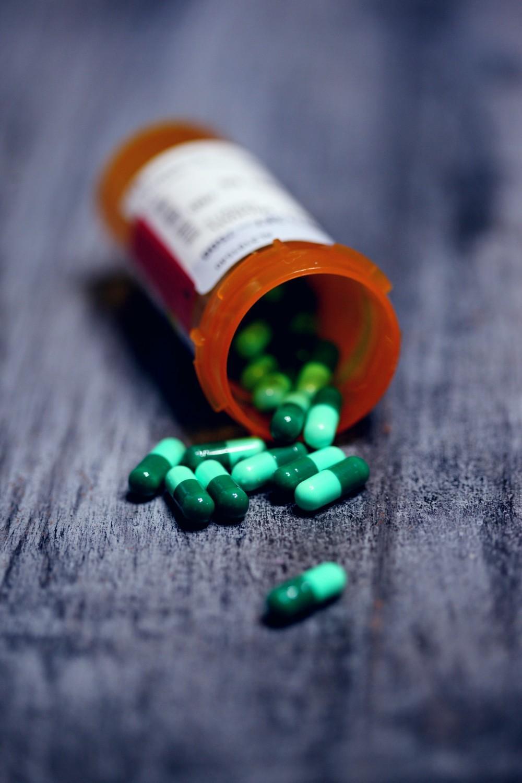 Medication Bottle pills spilling out