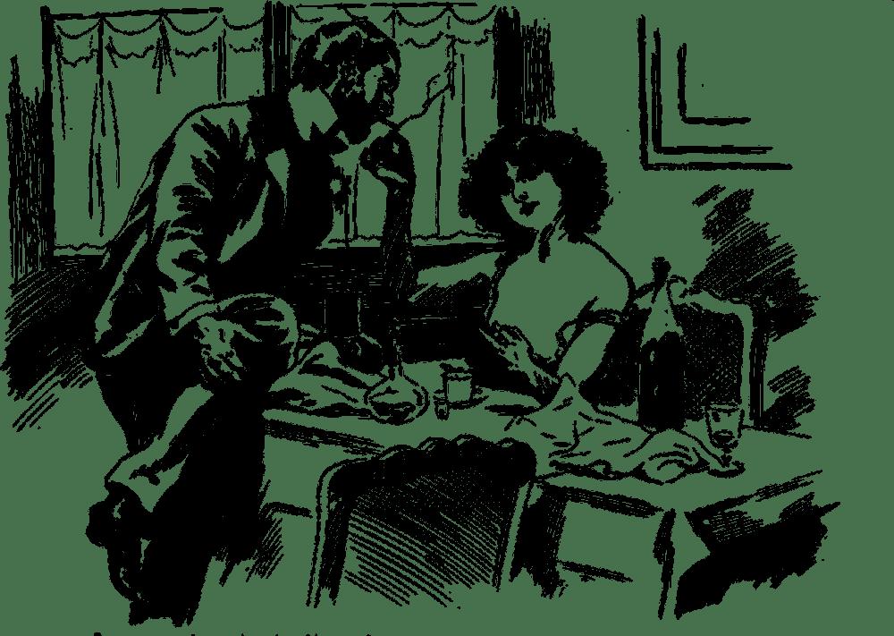 Drawing of man and woman smoking