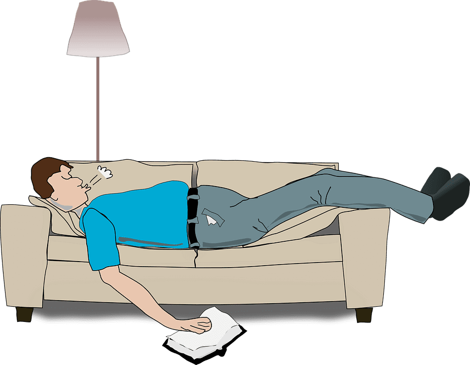 Man in blue shirt snoring on couch