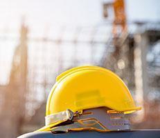 worker's yellow helmet
