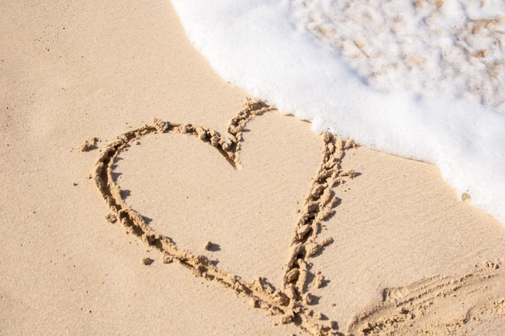 Sand with heart engraved