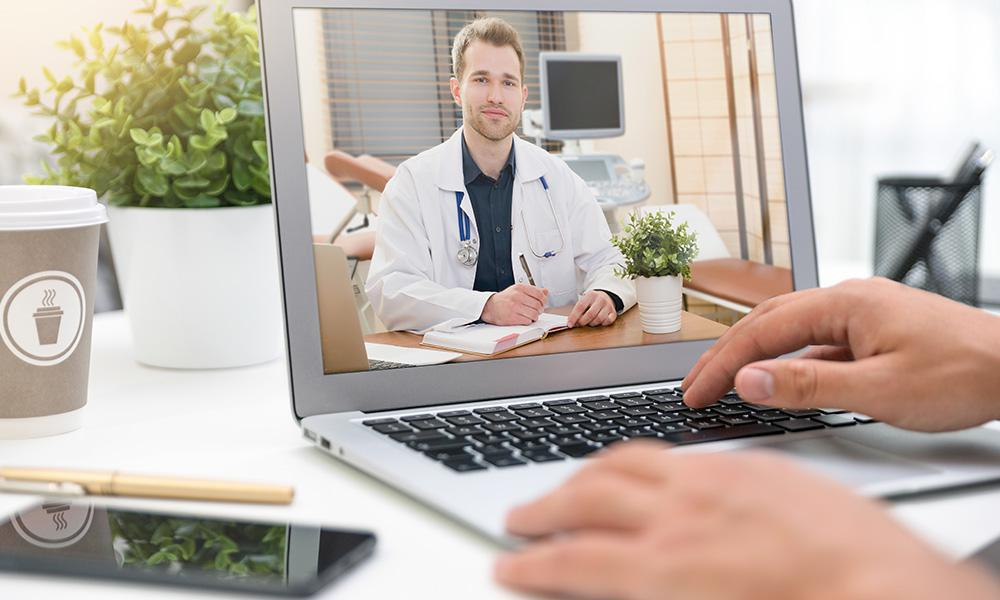 Doctor through screen telehealth